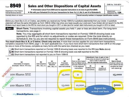 Reporting stock options on tax returns